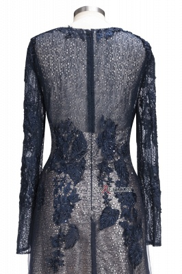 Lace-Appliques Black Long-sleeve Modern Scoop Evening Dress_3