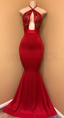 Sexy Red Sequins Prom Dress | 2020 Mermaid Halter Evening Party Gowns BA8975_1