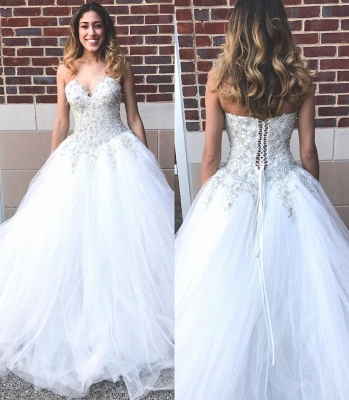 Glamorous Sweetheart Beadings Princess 2020 Wedding Dress Tulle Lace-up Bridal Gown On Sale_3