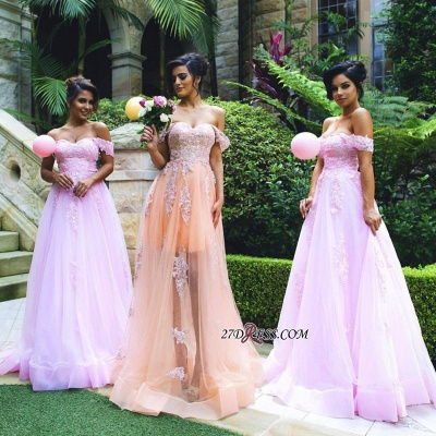 Lace Off-the-shoulder Gorgeous Appliques Tulle Prom Dress_1