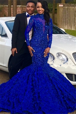 Royal Blue High-Neck Applique Mermaid Prom Gown | Glamorous Long-Sleeves Flower Evening Gown_5