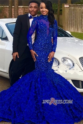 Royal Blue High-Neck Applique Mermaid Prom Gown | Glamorous Long-Sleeves Flower Evening Gown_4