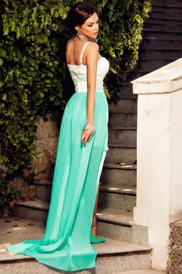 Glamorous Spaghetti Straps Sleeveless 2020 Prom Dress Chiffon Lace Hi-Lo Party Gowns_3