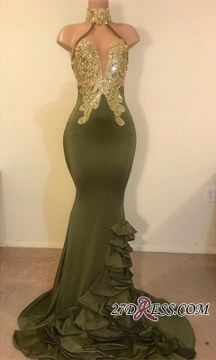 High Neck Sleeveless Ruffles Mermaid Prom Dresses | 2020 Sexy Halter Appliques Party Dresses_2