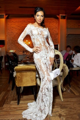 Sexy Illusion White Lace Prom Dresses 2020 Mermaid Long Sleeve_1