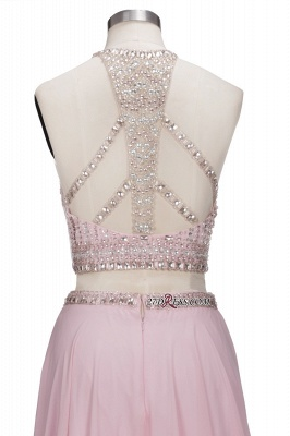Pink Crystals Floor-length A-line Two-piece Delicate Evening Dress_3