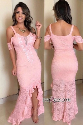 Pink High-Low Mermaid Cold-Sleeves Lace Prom Dresses_1