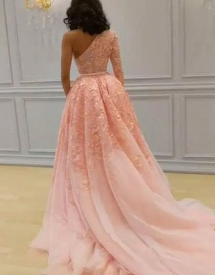 Glamorous Long Sleeve Lace Evening Dresses | 2020 One Shoulder Mermaid Prom Dress Overskirt_3