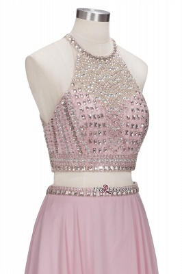 Pink Crystals Floor-length A-line Two-piece Delicate Evening Dress_2
