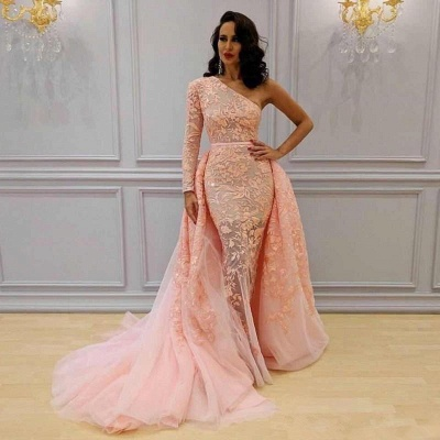 Glamorous Long Sleeve Lace Evening Dresses | 2020 One Shoulder Mermaid Prom Dress Overskirt_2