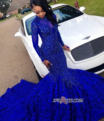 Royal Blue High-Neck Applique Mermaid Prom Gown | Glamorous Long-Sleeves Flower Evening Gown_3