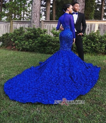 Royal Blue High-Neck Applique Mermaid Prom Gown | Glamorous Long-Sleeves Flower Evening Gown_2