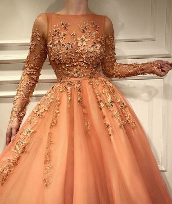 Living Coral Long Sleeve Prom Dresses | 2020 Lace Appliques Evening Gowns BC2054_2