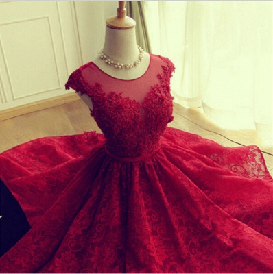 Delicate Red Lace Appliques 2020 Homecoming Dress Mini Cap Sleeve BA3604_4