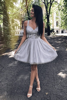 Newest Beads Lace Straps Homecoming Dress | A-line Short Formal Dress_3