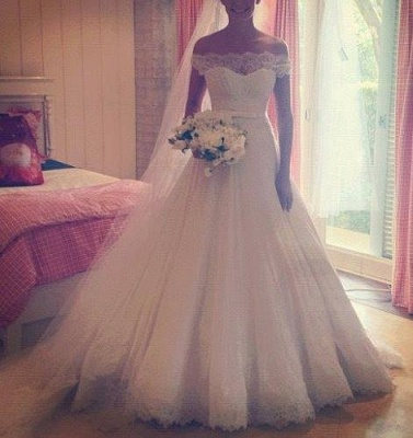 New Arrival Lace A-Line Princess Wedding Dress 2020 Tulle Off The Shoulder Bridal Gowns_1