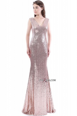 2020 Mermaid V-Neck Simple Sequins Long Evening Dresses_6