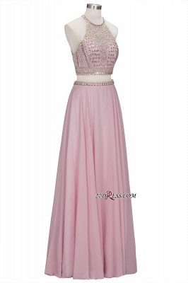 Pink Crystals Floor-length A-line Two-piece Delicate Evening Dress_5