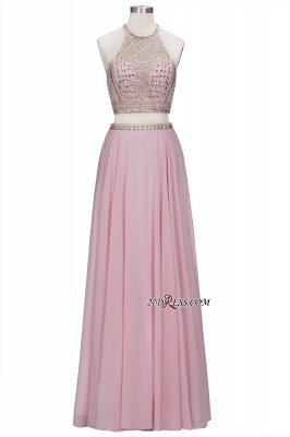 Pink Crystals Floor-length A-line Two-piece Delicate Evening Dress_6
