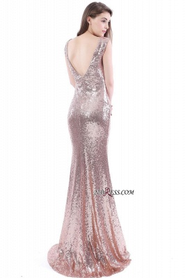 2020 Mermaid V-Neck Simple Sequins Long Evening Dresses_4