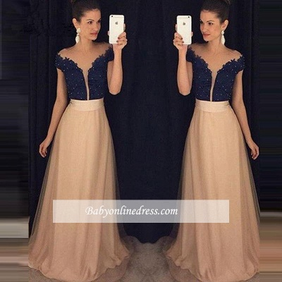 Glamorous Cap-Sleeves Beaded Lace Tulle A-Line Prom Dresses 2020 AP0_2