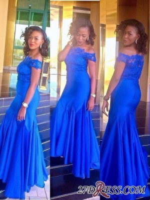 Royal Blue Mermaid Newest Off-the-Shoulder Lace 2020 Prom Dress_2