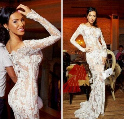 Sexy Illusion White Lace Prom Dresses 2020 Mermaid Long Sleeve_3