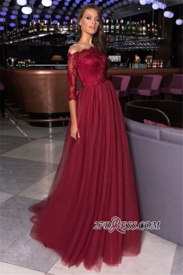 Beading Elegant A-line Lace Formal Off-the-shoulder Evening Dress_1