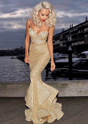 Sexy Mermaid Sequins 2020 Evening Dress Spaghetti Straps Party Gown_1