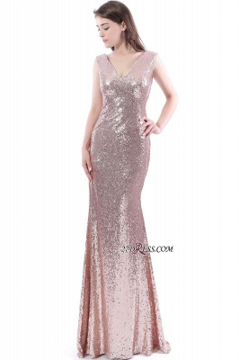 2020 Mermaid V-Neck Simple Sequins Long Evening Dresses_2
