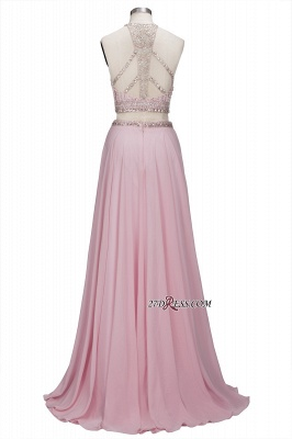 Pink Crystals Floor-length A-line Two-piece Delicate Evening Dress_4