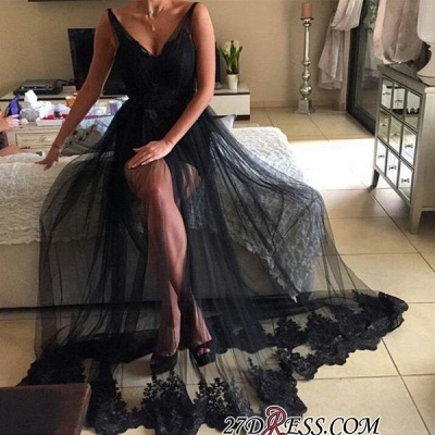 Sexy Black V-Neck Prom Dress | 2020 Long Tulle Evening Gowns_1