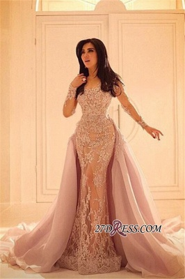 Luxurious Sleeves Mermaid Long Overskirt Lace Sexy Appliques Evening Dresses BA0579_1