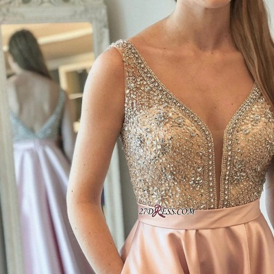 Brilliant V-neck 2020 Prom Dresses WIth Crystals Online_2