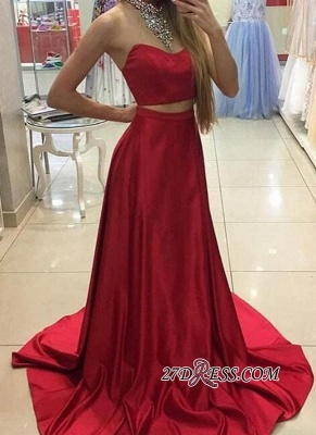 A-line Simple Sleeveless Long Red Two-Piece Prom Dresses_2