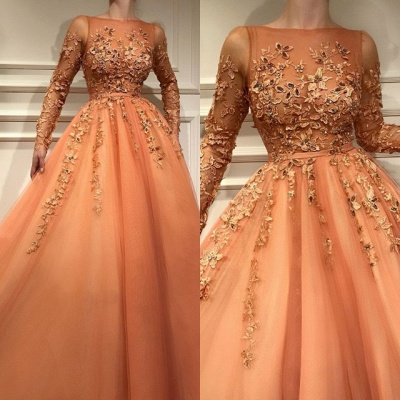 Living Coral Long Sleeve Prom Dresses | 2020 Lace Appliques Evening Gowns BC2054_3