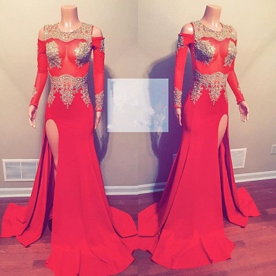 Elegant Long Sleeve 2020 Evening Gowns | Mermaid Lace Prom Dress With Slit_2