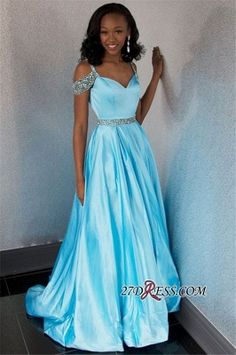 Simple Straps Long A-Line Floor-Length Beading Spaghetti Prom Dresses_2