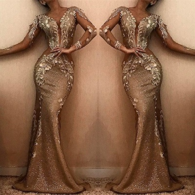 Stunning Long Sleeve Mermaid Prom Dresses | 2020 Long Appliques Evening Gowns BC0901_2