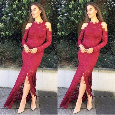 Gorgeous Long Sleeve Evening Dress | 2020 Mermaid Lace Prom Dress With Slit_3