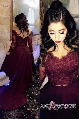 Hi-lo Lace-Appliques Newest A-line Long-Sleeve Beads Prom Dress SP0308_3