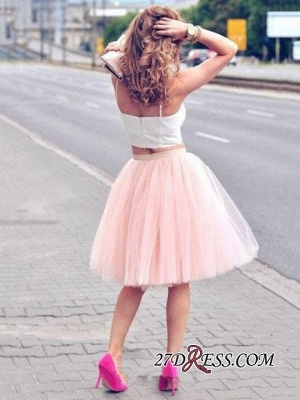 White Sexy Tulle Pink Spaghetti-Strap Sleeveless Two-Piece-Homecoming-Dress_2