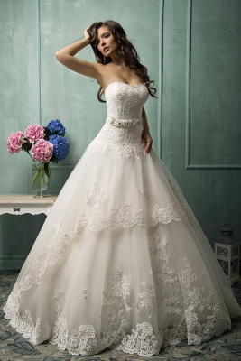 Elegant Sweetheart Sleeveless Tulle Wedding Dress With Lace Appliques Bow_1