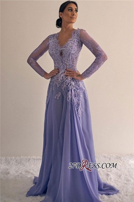 Long-sleeve Floor-length Lace A-line Beading V-neck Prom Dress_1