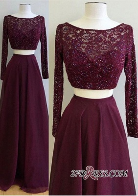 Long-Sleeve Burgundy Gorgeous Lace Two-Pieces 2020 Evening Dress PT0177_3