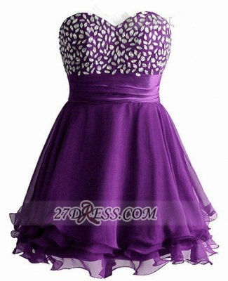 Elegant Sweetheart Sleeveless Short Homecoming Dress Crystals Lace-up Chiffon Purple Cocktail Gown_1