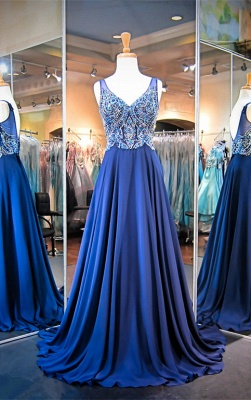 Gorgeous A-line Crystals Straps 2020 Evening Dress Sleeveless Sweep Train_1