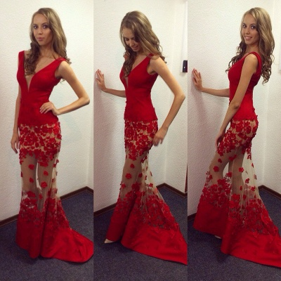 Sexy Red V-Neck Mermaid 2020 Prom Dresses Sheer Skirt long Lace_3