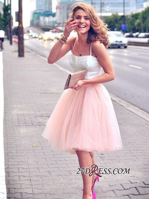 White Sexy Tulle Pink Spaghetti-Strap Sleeveless Two-Piece-Homecoming-Dress_4