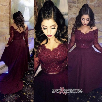 Hi-lo Lace-Appliques Newest A-line Long-Sleeve Beads Prom Dress SP0308_1